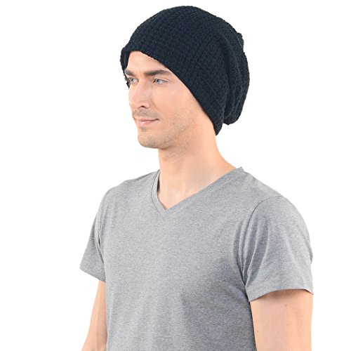 - FORBUSITE Mens Slouchy Long Beanie Knit Cap for Summer Winter, Oversize, Black