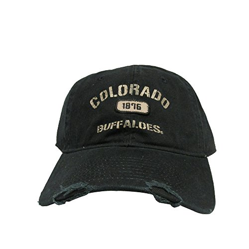 Boulder Colorado - University of Colorado Boulder Buffalos Distressed Polo Style College Team Strap Back Dad Hat Cap
