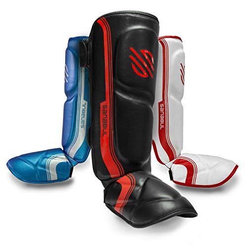 Sanabul Core Advanced Series Hook and Loop Strap Kickboxing Muay Thai MMA Shin Guards (Black/RED, L/XL)
