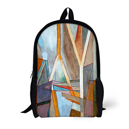 Pinbeam Backpack Travel Daypack Blue Abstracted Abstract Painting Colorful Abstraction Artistic Arty Waterproof School Bag
