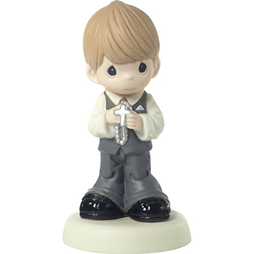 Precious Moments 172010 May His Light Shine in Your Heart Today & Always Blond Hair Boy with Light Skin Tone First Communion Bisque Porcelain Figurine ()