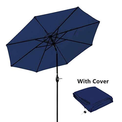 Blue Umbrella Navy Market (Masvis Patio Umbrella 9 Ft Aluminum Outdoor Table Market Umbrellas With Push Button Tilt and Crank, Safety Bolt,8 Ribs (Navy Blue))