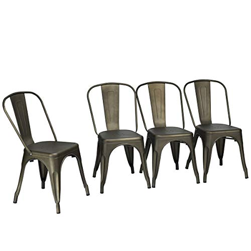 - 4Pcs Metal Stool Tolix Style Bistro Cafe Seat Decor Stackable Dining Side Chair with Ebook