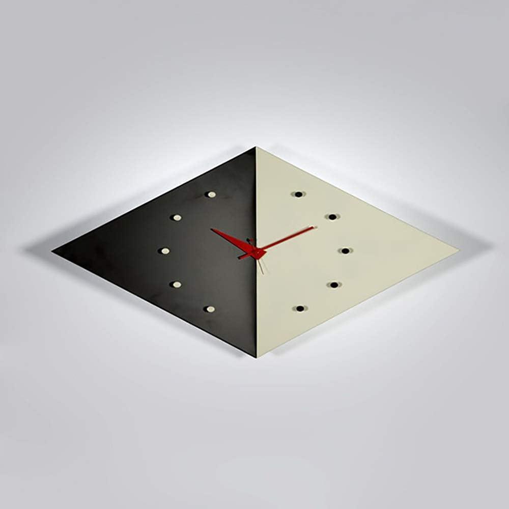 現代のファッションシンプルなダイヤモンド形スクエアブラックグレーメタルホテルのリビングルームの研究ダイニングルームの装飾の壁時計59センチ* 45センチ* 12センチ。 時計