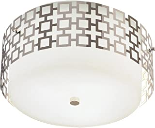 product image for Robert Abbey S664 Flush Mounts with Frosted White Cased Glass and Metal Outer Shades, Polished Nickel Finish