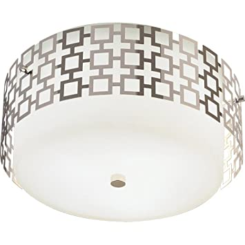 robert abbey s664 flush mounts with frosted white cased glass and metal outer shades polished - Robert Abbey Lighting