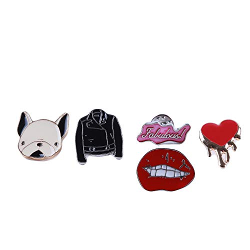 Yunzee Cute Brooch Set Dog Lip Clothes Love Heart Pattern Creative Shape Punk Enamel Pin Dresses Costume Decoration Badges -