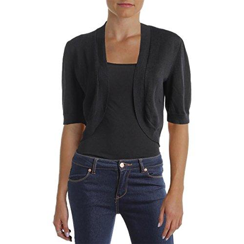 (LAUREN RALPH LAUREN Womens Knit Ribbed Trim Shrug Sweater Black S)