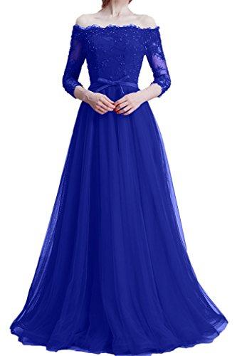 Tuell abito scollo Prom donna ressing Zaertlich abito vestito amp; ivyd royal sera Party U 3 4 Festa pizzo nbsp;giromanica blu a da wqX57aZ