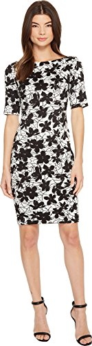Calvin Klein Women's Printed 3/4 Sleeveless Floral Compression Jacquard CD8E28JW Black/White 12