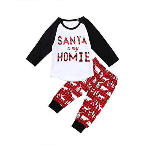 e205d8c51 Toddler Baby Kid Girl/Boy Christmas Outfit Santa is My Homie Top Long  Sleeve Pants