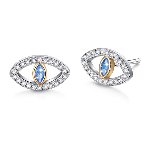 (S925 Sterling Silver Protection Blue Evil Eye Stud Earrings 12 mm for Women Girls)