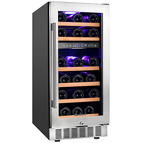 Upgraded Aobosi 15 Inch Wine Cooler, 28 Bottle Dual Zone Wine Refrigerator with Stainless Steel Tempered Glass Door, Temp Memory Function, Fit Champagne Bottles, Freestanding and Built-in Style