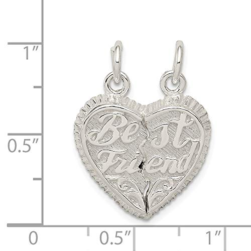 Sterling Silver Best Friend 2-Piece Break Apart Heart Charm (0.8IN long x 0.4IN wide)