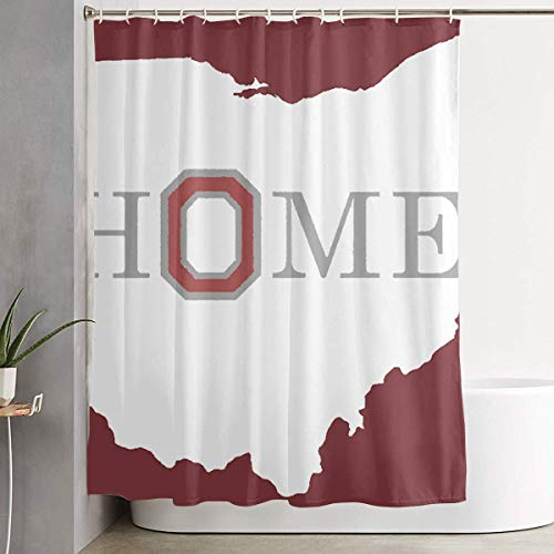 (YING New Oh-io State Map Home Bathroom Washroom Waterproof Fabric Polyester Shower Curtain Bath Curtain Decoration Home Decor Sets with Plastic Hooks 60x72 Inches)