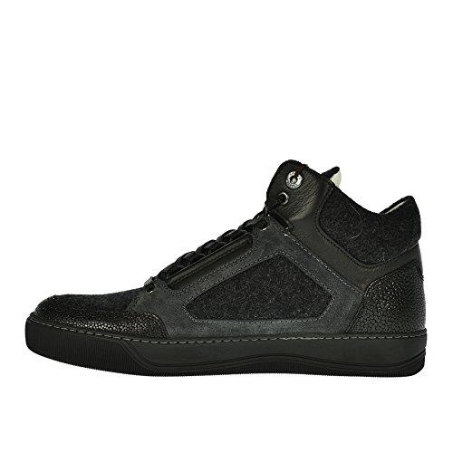 Lanvin Sneaker Alta Nero Antracite In Lana E Pelle - 40