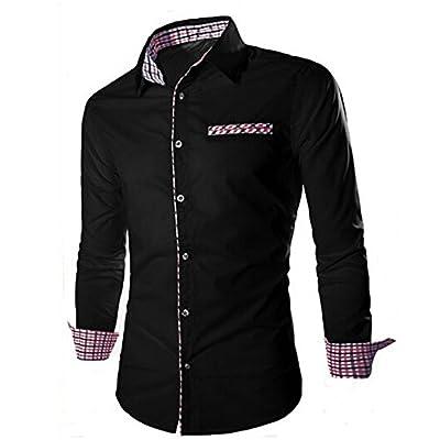 CHK Men's Casual Long Sleeve Plaid Pocket Dress Shirt Slim Fit