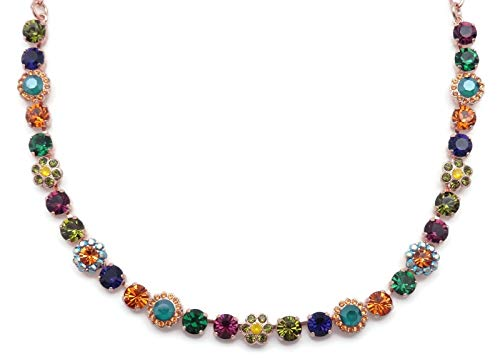 Mariana Holiday Lights Swarovski Crystal Rose Goldtone Necklace Multi Color Flower Mosaic 1116