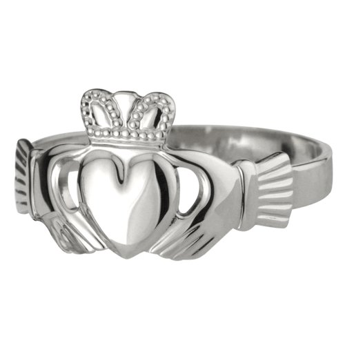 Ladies Claddagh Ring Puffed Silver Thick Band Sz 10