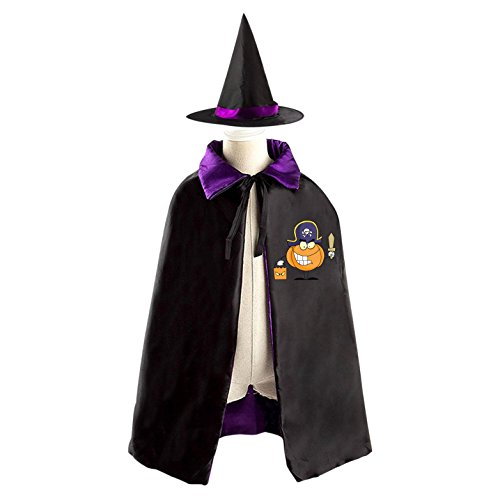 Homemade Kids Pirate Halloween Costumes (Pumpkin Pirates Halloween Cape and Matching Witch Hat for Kids purple)