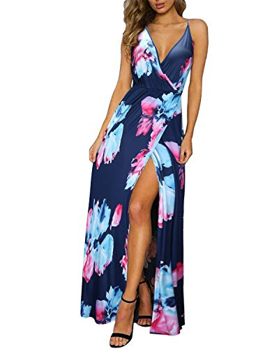 (II ININ Women's Deep V-Neck Strap Casual Floral Print Maxi Split Dress(Floral06,M))