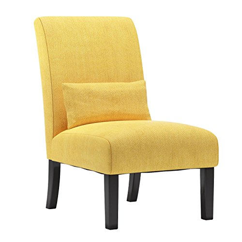 Roundhill Furniture AC160YL Yellow Pisano Chenille Fabric Armless Contemporary Accent Chair with Matching Kidney Pillow