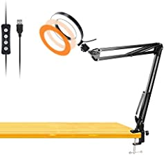 Workbench Light Features: ✔ 3 Light Color - white, warm yellow, warm yellow + white ✔ 10-Level Brightness - optimize your lighting source as best ✔ 360 degree adjustable - easily rotate the swivel ball head for ideal viewing;✔ USB Powered - n...