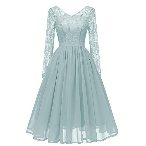 Hot Sale Womens Princess Dresses,deatu Clearance Ladies Autumn Long Sleeves Small Fresh Floral Lace Chiffon Party Dress(Green,XL) (Best Way To Wash Polo Shirts)