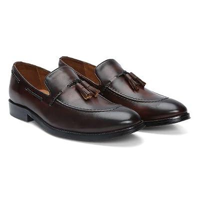 BRUNE Dark Brown Color 100% Genuine Leather Tassel Loafers With Side Lacing  For Men