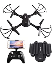 Yush WiFi FPV RC Drone with HD 1080P Camera Foldable Portable Quadcopter Remote Control Drones Altitude Hold Headless Mode 2.4Ghz 4 Ch 6 Axis Compatible with 3D VR Headset Two Battery Black