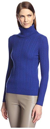 SOCIETY NEW YORK Women's Cable Turtleneck Sweater, Cobalt...