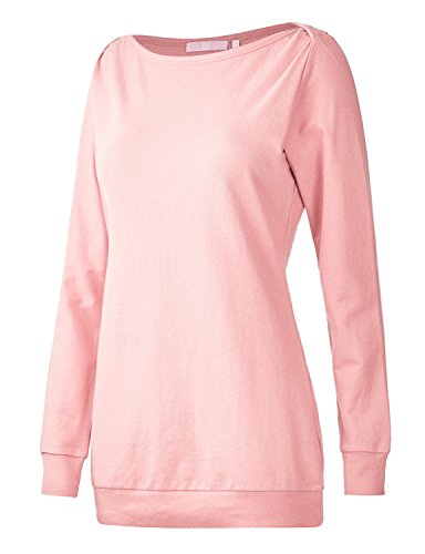 Regna X Boho for Womens Active Solid Tunics Light Pink Medium Boatneck Long Pullover Sweatshirts