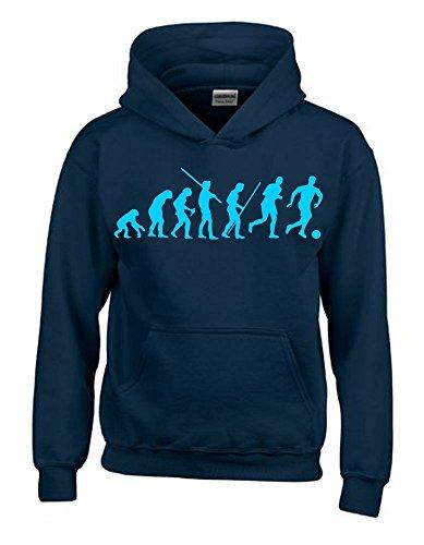 FUSSBALL Evolution Kinder Sweatshirt mit Kapuze HOODIE navy-sky, Gr.164cm