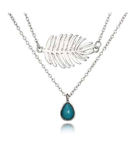 Eoumy Vintage Layered Choker Leaf Teardrop Turquoise Pendant Necklace Boho Chain Multilayer Choker Jewelry for Women - Sport Pendant Turquoise