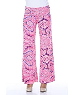 b5cb2eda8b2a white mark Women's Wide Leg Palazzo Pants Printed Paisley Floral in Pink -  Large