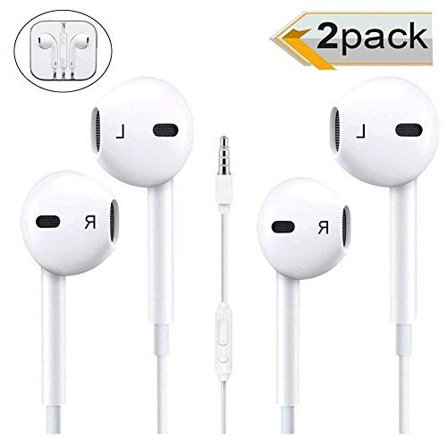 [2 Pack] Headphones/Earphones/Earbuds, Timegevity 3.5mm Wired Headphones Noise Isolating Earphones Built-in Microphone & Volume Control Compatible iPhone iPod iPad Samsung/Android / MP3 MP4 (White) (Headphone Apple Iphone 6)