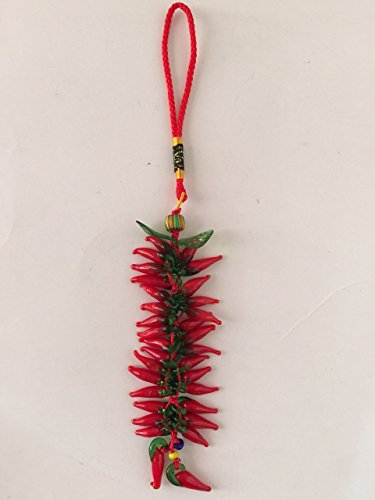(Red Glass Hot Chili Pepper Beads Charm Pendant)