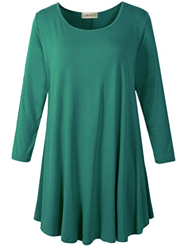 LARACE Women 3/4 Sleeve Tunic Top Loose Fit Flare T-Shirt(1X, Deep Green)