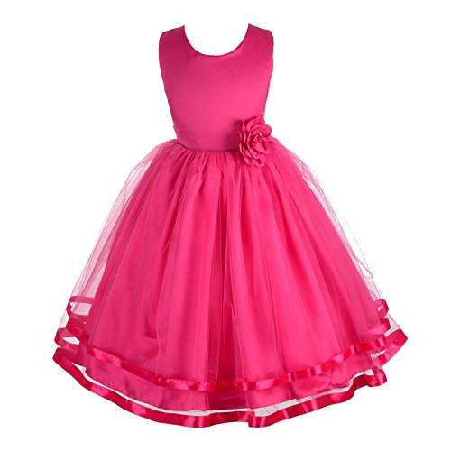 Dressy Daisy Girls Wedding Flower Girl Dress Pageant Dress Ribbon Trimmed Tulle Size 10 Hot Pink