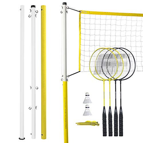 Franklin Sports Badminton Net Family Set - Includes 4 Steel Rackets, 2 Birdies, Adjustable Net and Stakes - Backyard or Beach Badminton Set - Easy Net Setup