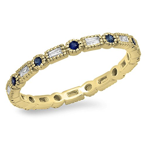 Dazzlingrock Collection 14K Blue Sapphire & White Diamond Ladies Vintage Wedding Eternity Stackable Ring, Yellow Gold, Size 7 (Sapphire And Diamond Eternity Band Yellow Gold)