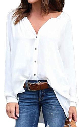 Coat Camicie Da A Chiffon Home Xl Scollo Bottoni In V Pieghettati color Irregolare Women Con Donna White1 Manica Allentato Lunga Size Gray SFdqSx