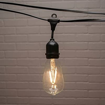 Commercial Edison Drop String Lights, ST58 Dimmable LED, 106ft Black Wire, Warm White