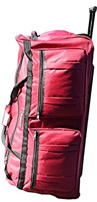 ICE USA 36-inch Wheeled Cargo Outdoor Mountain Hockey Duffle Bag, Red, XL