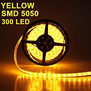 5M 5050 SMD LED Strip Light Waterproof Yellow 300 LED DC 12V