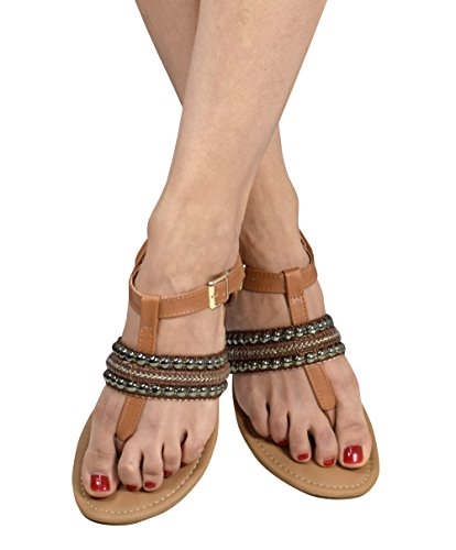 Peach Couture Pearl Studded Ankle Wrap Strappy Buckle Gladiator Sandals Tan 11 B(M) US