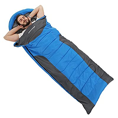 "SONGMICS Sleeping Bag with Hood for 23℉-60℉, Lightweight, Waterproof, Comfortable (86"" x 33""), Portable with a Compression Sack for Adults UGSB02UG"