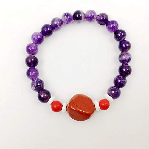 (Fashionable Natural Healing Stone Purple Amethysts & Cinnabar & Tridacna Beads Bracelets | for Men Or Women)