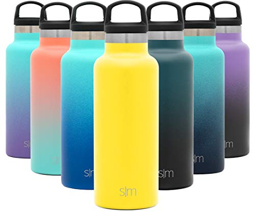 Simple Modern 17oz Ascent Water Bottle – Stainless Steel Flask w/Handle Lid – Hydro Double Wall Tumbler Vacuum Insulated Yellow Small Reusable Metal Leakproof -Sunshine