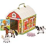 "Melissa & Doug Latches Barn Toy, Developmental Toy, Helps Improve Fine Motor Skills, Painted Wood Barn, 10.5""H x 7.5""W x 10"" L"